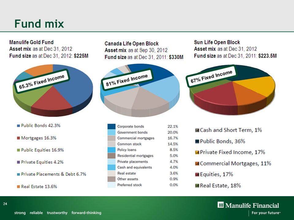 Fund mix 24 65.3% Fixed Income 81% Fixed Income 67% Fixed Income