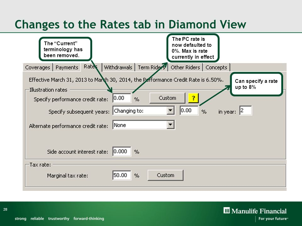 Changes to the Rates tab in Diamond View 28 The Current terminology has been removed. The PC rate is now defaulted to 0%. Max is rate currently in eff
