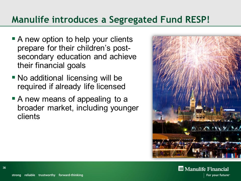 Manulife introduces a Segregated Fund RESP! A new option to help your clients prepare for their childrens post- secondary education and achieve their