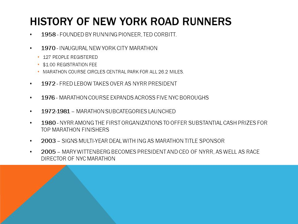 HISTORY OF NEW YORK ROAD RUNNERS 1958 - FOUNDED BY RUNNING PIONEER, TED CORBITT.