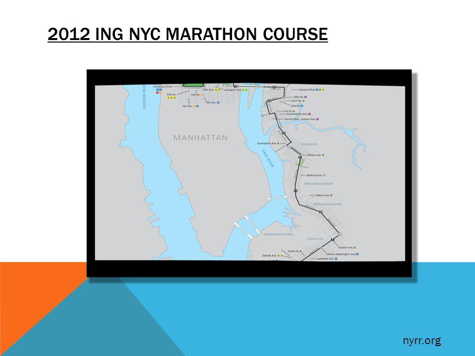 2012 ING NYC MARATHON COURSE nyrr.org