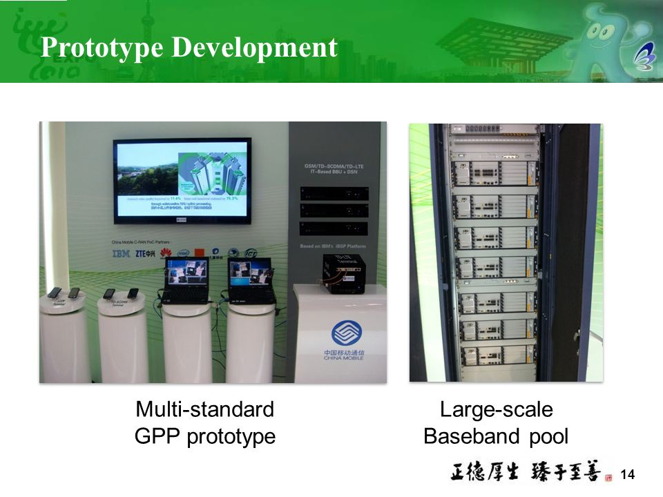14 Prototype Development Multi-standard GPP prototype Large-scale Baseband pool