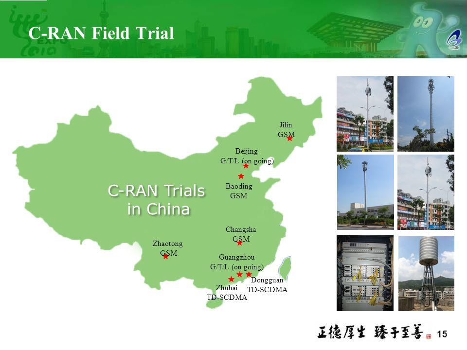 15 C-RAN Field Trial Dongguan TD-SCDMA Zhaotong GSM Changsha GSM Baoding GSM Jilin GSM Guangzhou G/T/L (on going) Beijing G/T/L (on going) C-RAN Trial