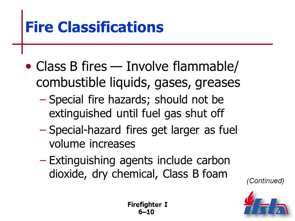 Firefighter I 6–9 Fire Classifications Class A fires Involve ordinary combustibles –Easily extinguished with water, water- based agents (foam), dry ch
