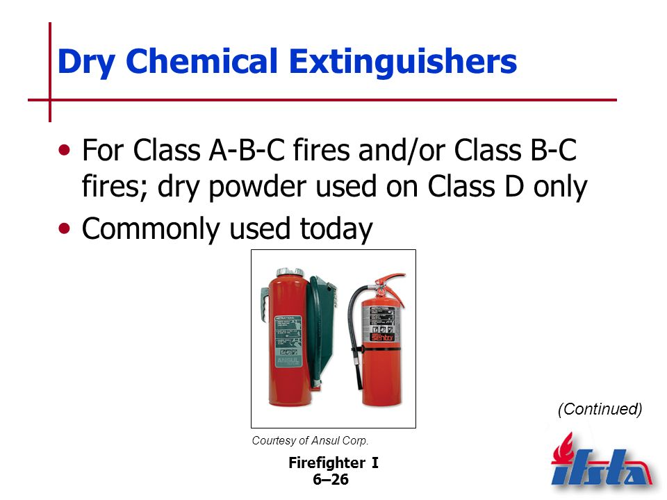 Firefighter I 6–25 Carbon Dioxide (CO 2 ) Extinguishers Carbon dioxide stored under its own pressure as liquefied gas ready for release at any time Wh