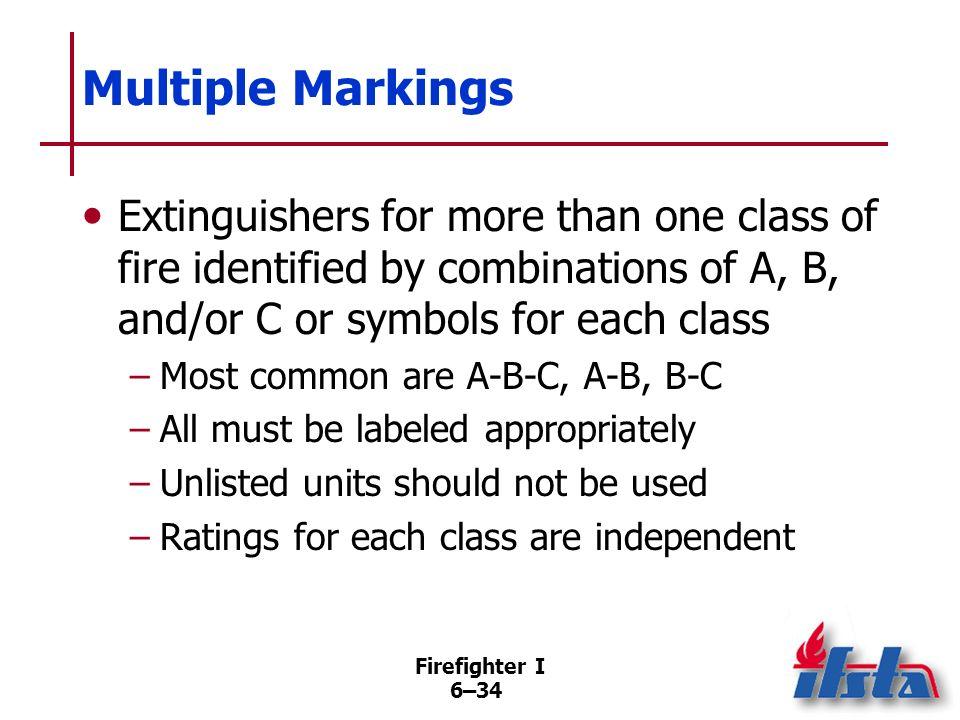 Firefighter I 6–33 Classifications Class A From 1-A through 40-A Class B From 1-B through 640-B Class C No tests Class D Test fires vary Class K Recog