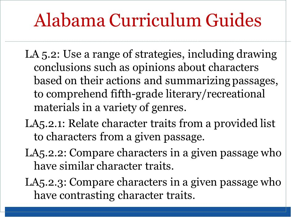 Alabama Curriculum Guides LA 5.2: Use a range of strategies, including drawing conclusions such as opinions about characters based on their actions an