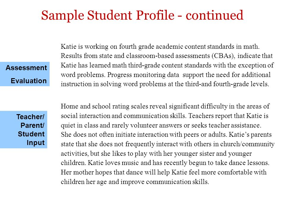 Katie is working on fourth grade academic content standards in math. Results from state and classroom-based assessments (CBAs), indicate that Katie ha