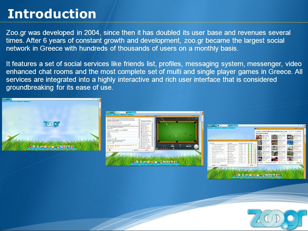Zoo.gr was developed in 2004, since then it has doubled its user base and revenues several times.