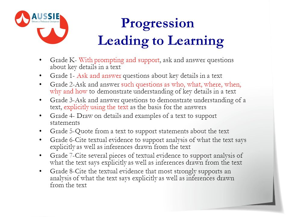 Developmental The new Common Core Standards are developmental. The depth and breadth of understanding of the standard increases with each grade level.