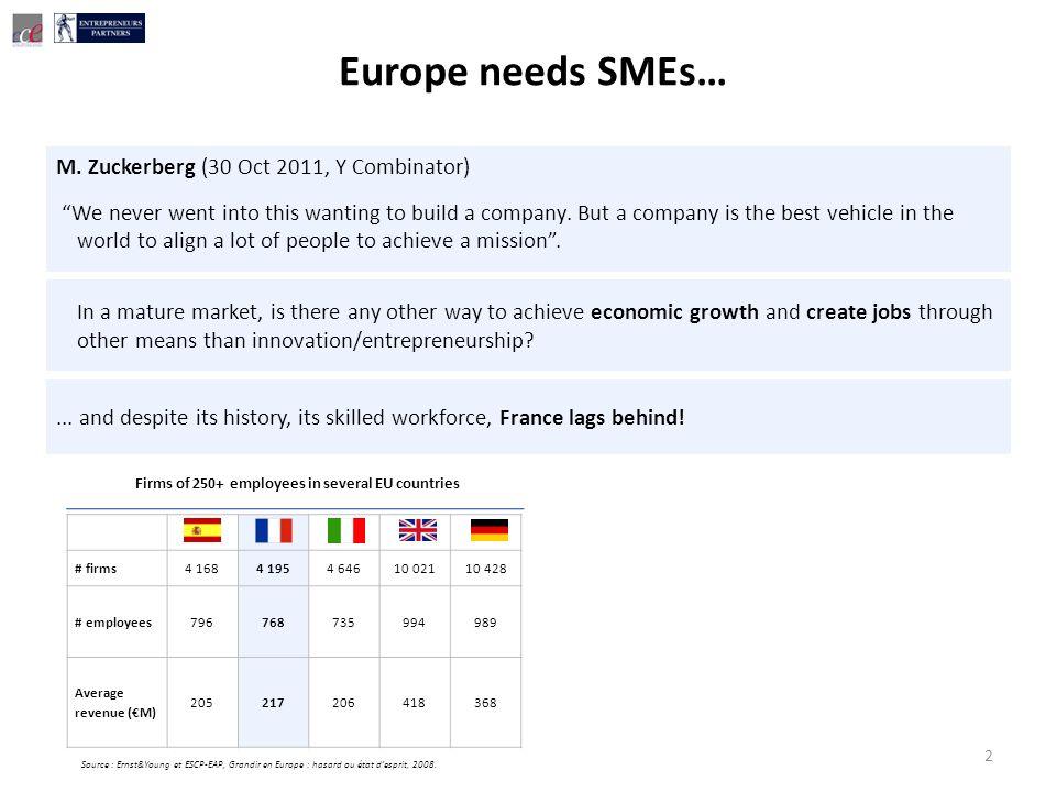 2 # firms4 1684 1954 64610 02110 428 # employees796768735994989 Average revenue (M) 205217206418368 Firms of 250+ employees in several EU countries Source : Ernst&Young et ESCP-EAP, Grandir en Europe : hasard ou état desprit, 2008.