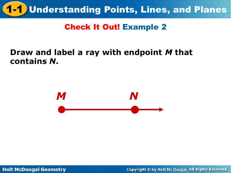 Holt McDougal Geometry 1-1 Understanding Points, Lines, and Planes Draw and label a ray with endpoint M that contains N. Check It Out! Example 2 MN