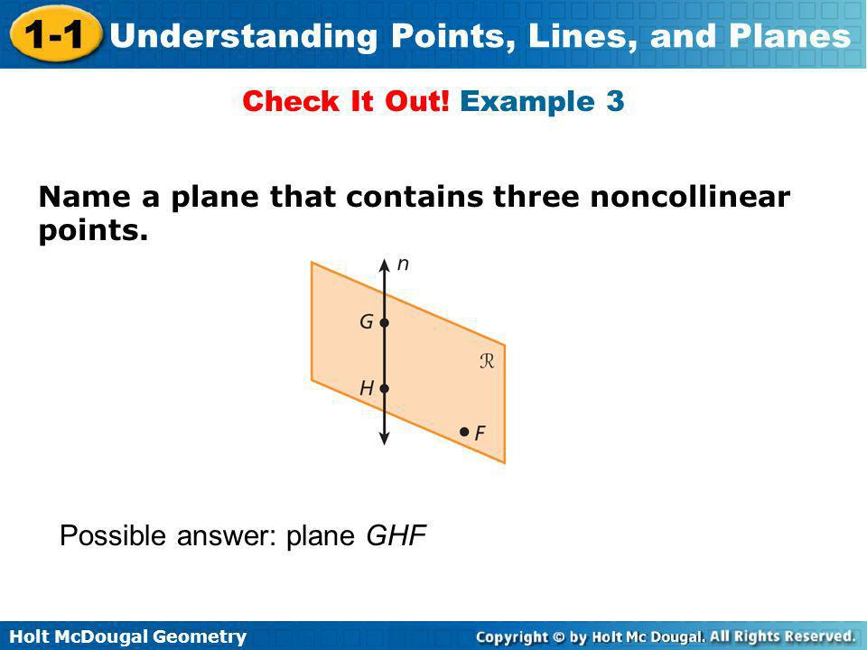 Holt McDougal Geometry 1-1 Understanding Points, Lines, and Planes Name a plane that contains three noncollinear points. Check It Out! Example 3 Possi