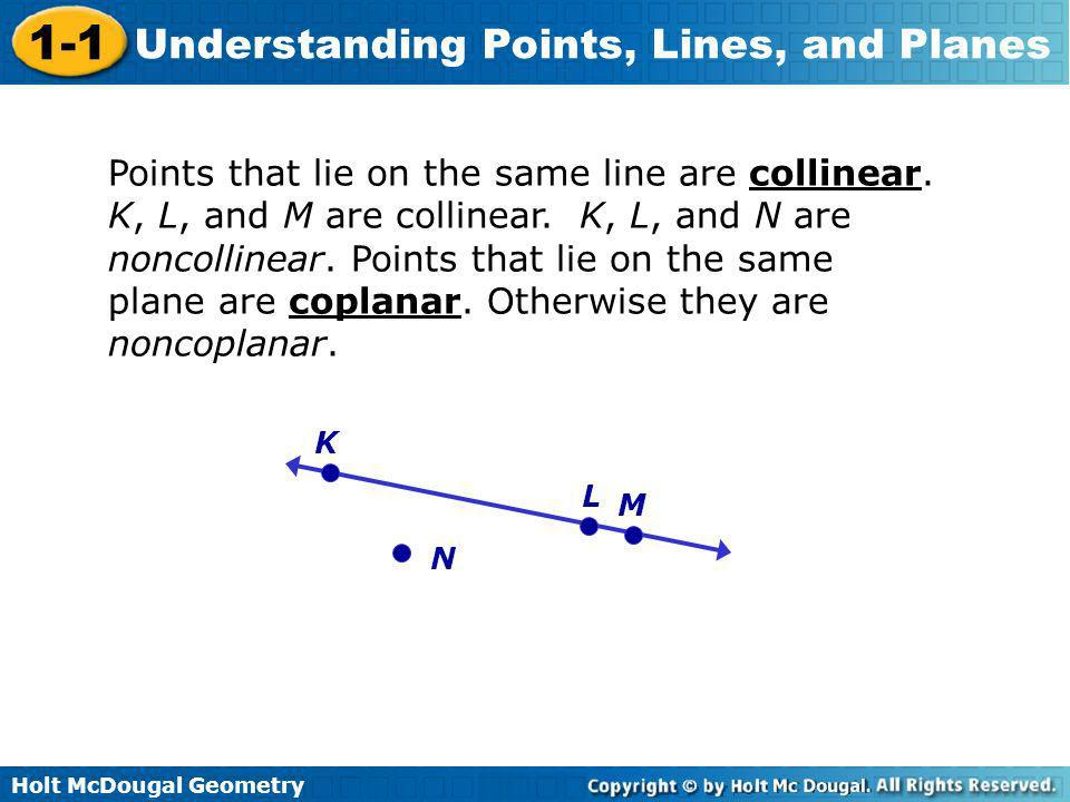 Holt McDougal Geometry 1-1 Understanding Points, Lines, and Planes Points that lie on the same line are collinear. K, L, and M are collinear. K, L, an