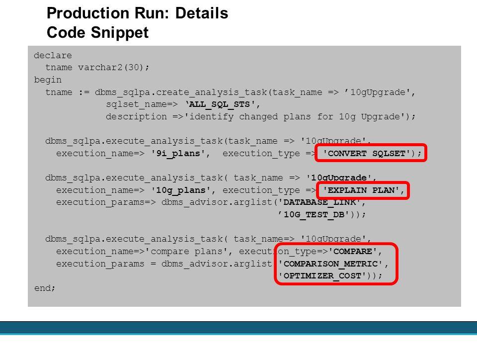 declare tname varchar2(30); begin tname := dbms_sqlpa.create_analysis_task(task_name => 10gUpgrade', sqlset_name=> ALL_SQL_STS', description =>'identi
