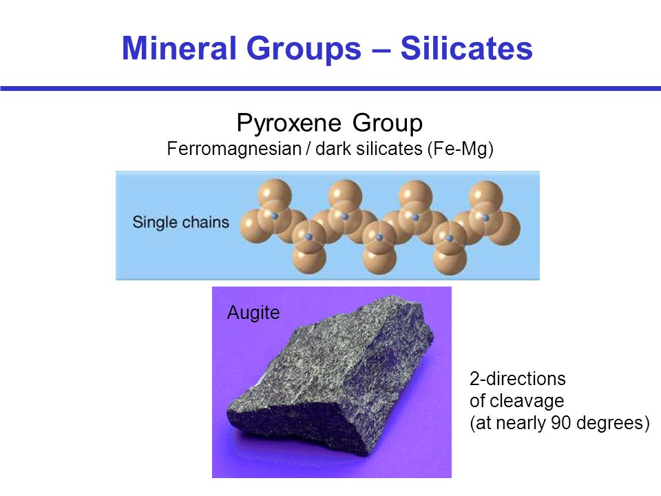 Pyroxene Group Ferromagnesian / dark silicates (Fe-Mg) Mineral Groups – Silicates 2-directions of cleavage (at nearly 90 degrees) Augite