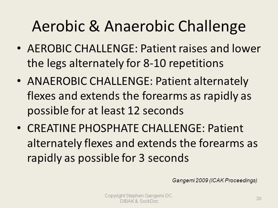 Aerobic & Anaerobic Challenge AEROBIC CHALLENGE: Patient raises and lower the legs alternately for 8-10 repetitions ANAEROBIC CHALLENGE: Patient alter