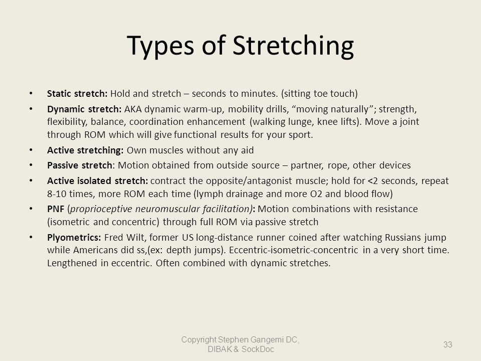 Types of Stretching Static stretch: Hold and stretch – seconds to minutes. (sitting toe touch) Dynamic stretch: AKA dynamic warm-up, mobility drills,