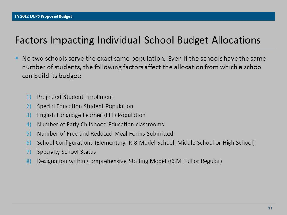 Factors Impacting Individual School Budget Allocations No two schools serve the exact same population.