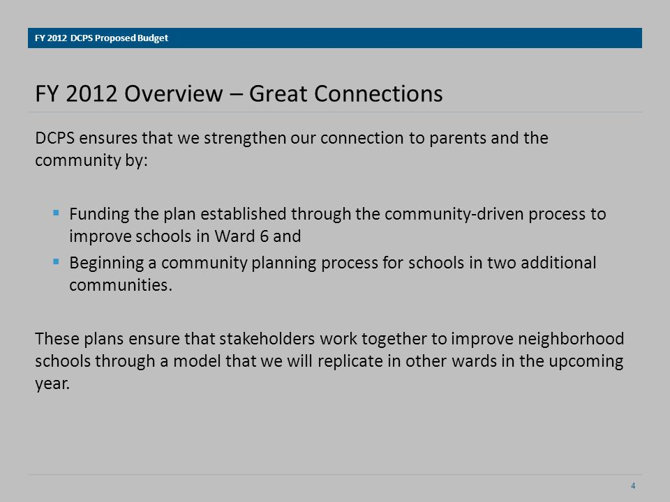 DCPS Goals in FY 12 School Budgeting Move Closer to Equity.