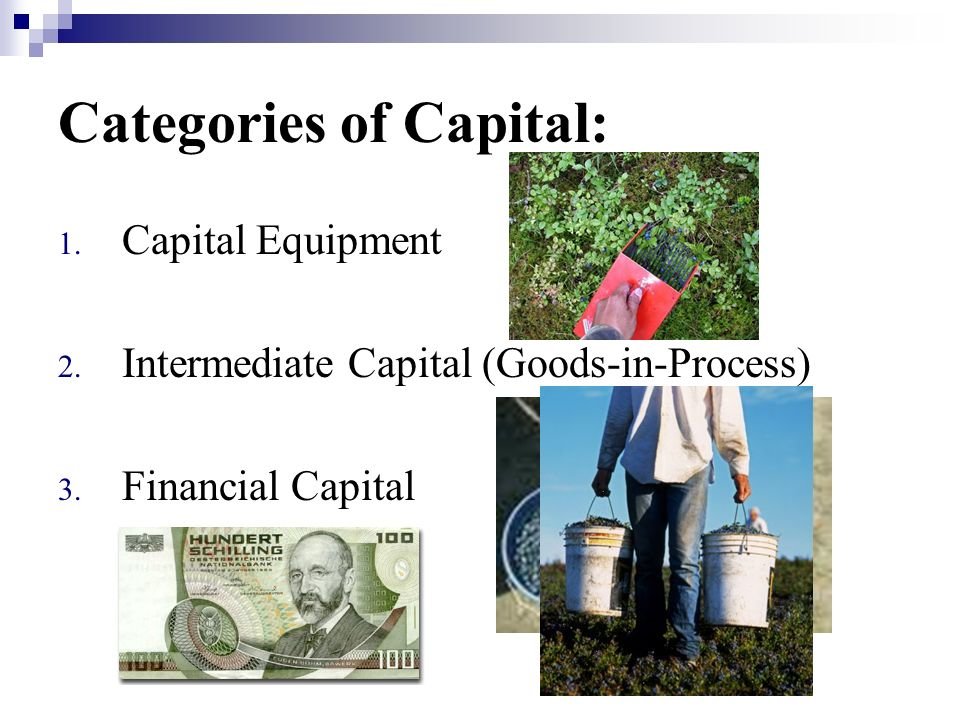 Categories of Capital: 1. Capital Equipment 2. Intermediate Capital (Goods-in-Process) 3.