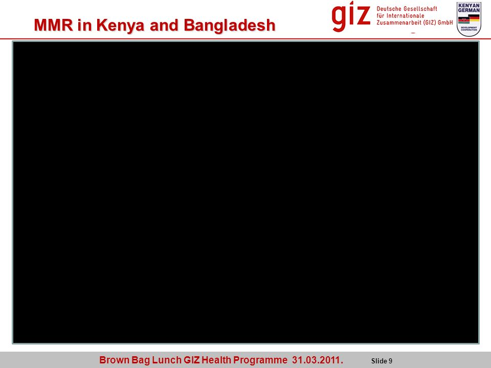 Brown Bag Lunch GIZ Health Programme 31.03.2011. Slide 9 MMR in Kenya and Bangladesh 10 years OUTCOME Kenya 418 Bangladesh: 390 OUTCOME Kenya 488 Bang