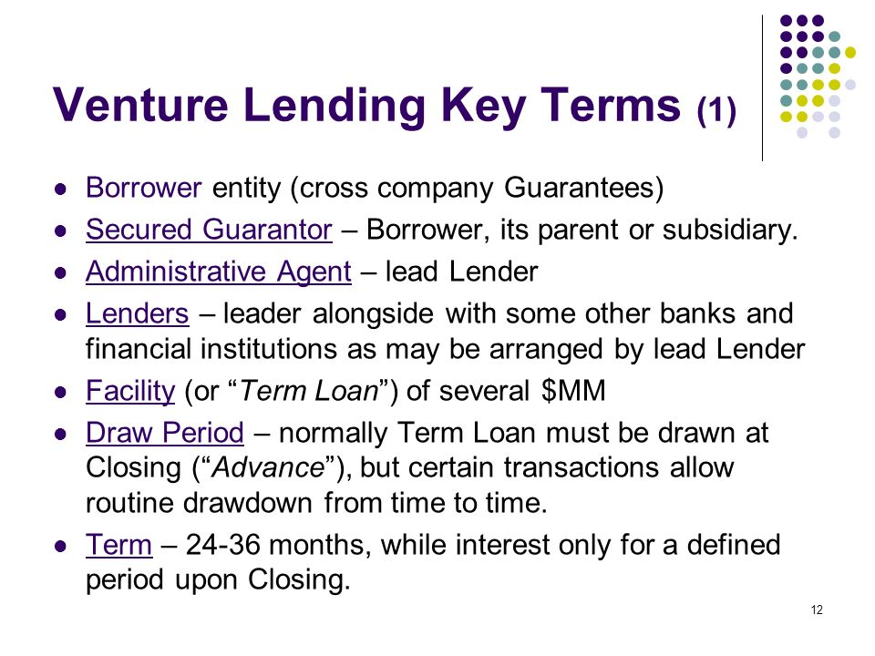 12 Venture Lending Key Terms (1) Borrower entity (cross company Guarantees) Secured Guarantor – Borrower, its parent or subsidiary.