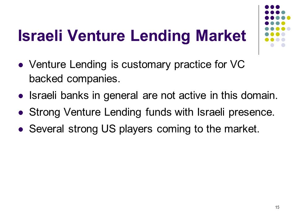 15 Israeli Venture Lending Market Venture Lending is customary practice for VC backed companies. Israeli banks in general are not active in this domai