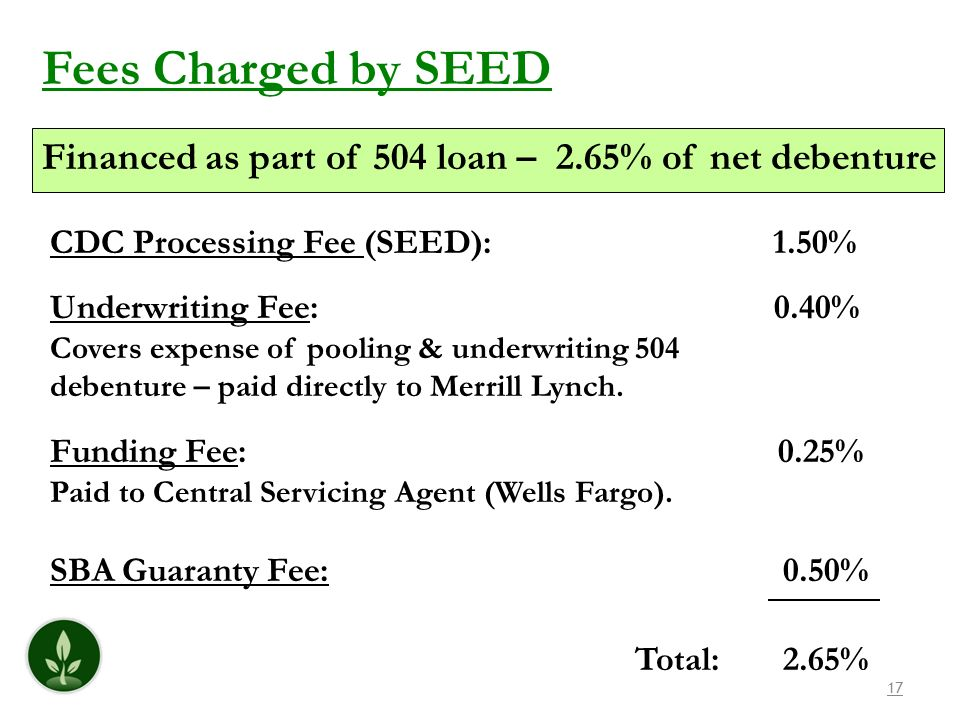 17 Fees Charged by SEED Financed as part of 504 loan – 2.65% of net debenture CDC Processing Fee (SEED): 1.50% Underwriting Fee: 0.40% Covers expense of pooling & underwriting 504 debenture – paid directly to Merrill Lynch.