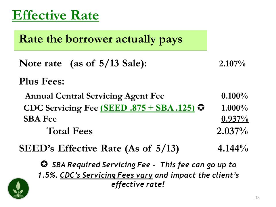 18 Effective Rate Rate the borrower actually pays Note rate (as of 5/13 Sale): 2.107% Plus Fees: Annual Central Servicing Agent Fee 0.100% CDC Servicing Fee (SEED.875 + SBA.125) 1.000% SBA Fee 0.937% Total Fees 2.037% SEEDs Effective Rate (As of 5/13) 4.144% SBA Required Servicing Fee - This fee can go up to 1.5%.