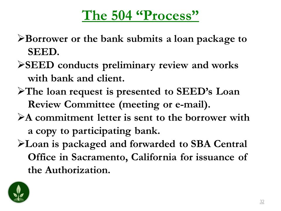 32 The 504 Process Borrower or the bank submits a loan package to SEED.