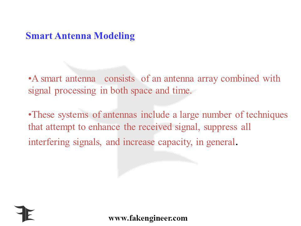 www.fakengineer.com Smart Antenna Modeling A smart antenna consists of an antenna array combined with signal processing in both space and time.