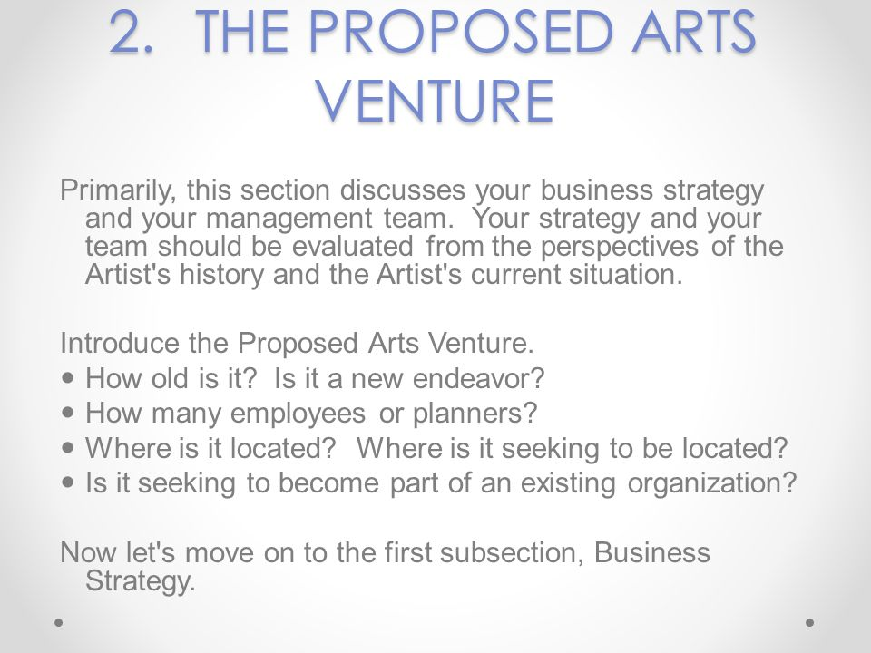 2.THE PROPOSED ARTS VENTURE Primarily, this section discusses your business strategy and your management team. Your strategy and your team should be e