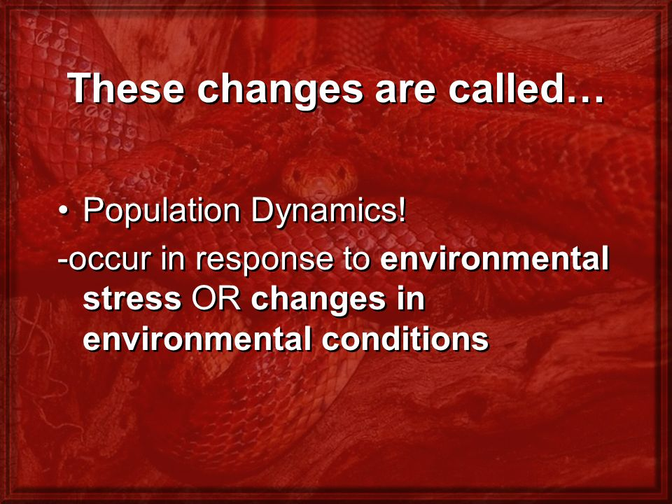 These changes are called… Population Dynamics! -occur in response to environmental stress OR changes in environmental conditions Population Dynamics!
