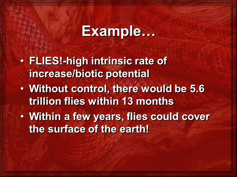 Example… FLIES!-high intrinsic rate of increase/biotic potential Without control, there would be 5.6 trillion flies within 13 months Within a few year