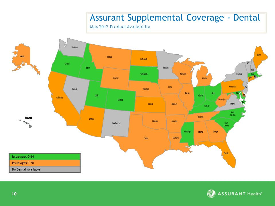 10 Assurant Supplemental Coverage - Dental May 2012 Product Availability Issue Ages 0-64 Issue Ages 0-70 No Dental Available