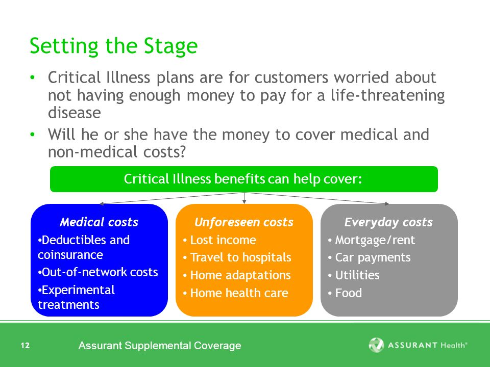 12 Assurant Supplemental Coverage 12 Setting the Stage Critical Illness plans are for customers worried about not having enough money to pay for a life-threatening disease Will he or she have the money to cover medical and non-medical costs.