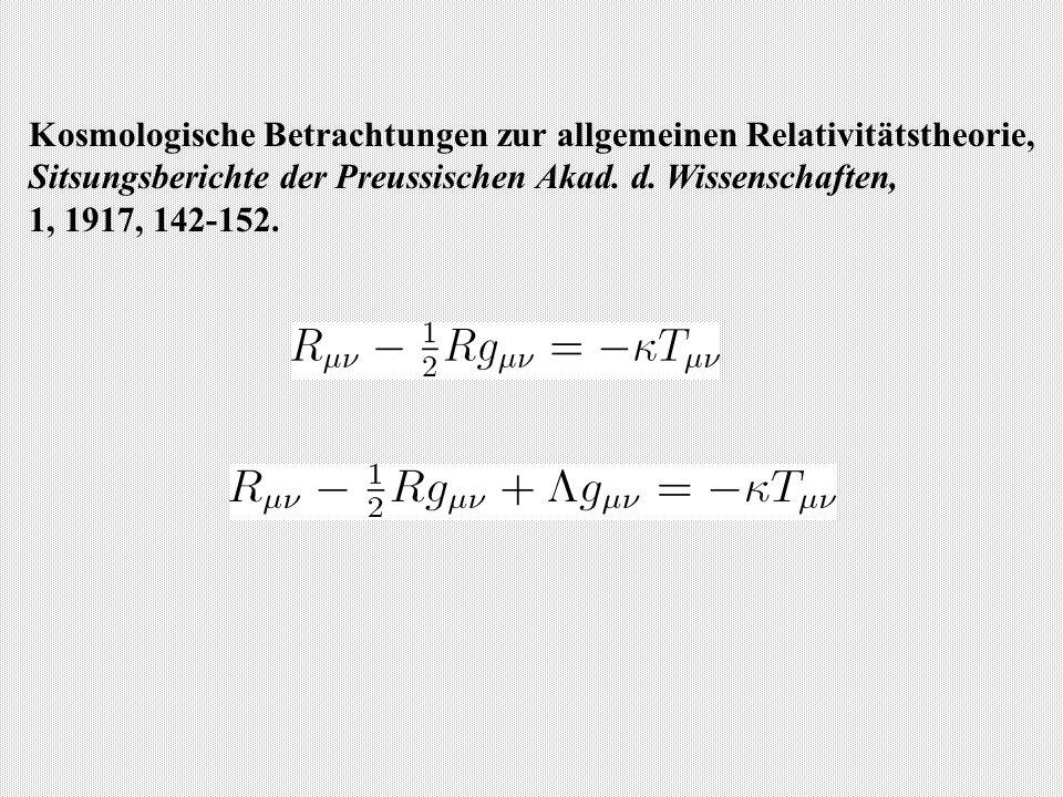 Kosmologische Betrachtungen zur allgemeinen Relativitätstheorie, Sitsungsberichte der Preussischen Akad.
