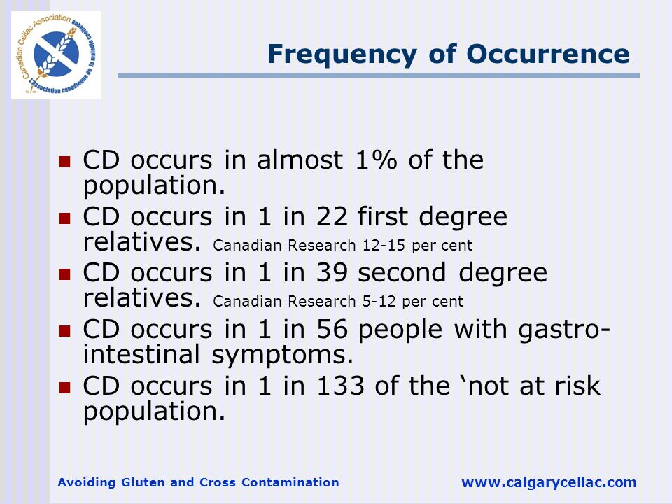 Avoiding Gluten and Cross Contamination www.calgaryceliac.com Frequency of Occurrence CD occurs in almost 1% of the population. CD occurs in 1 in 22 f