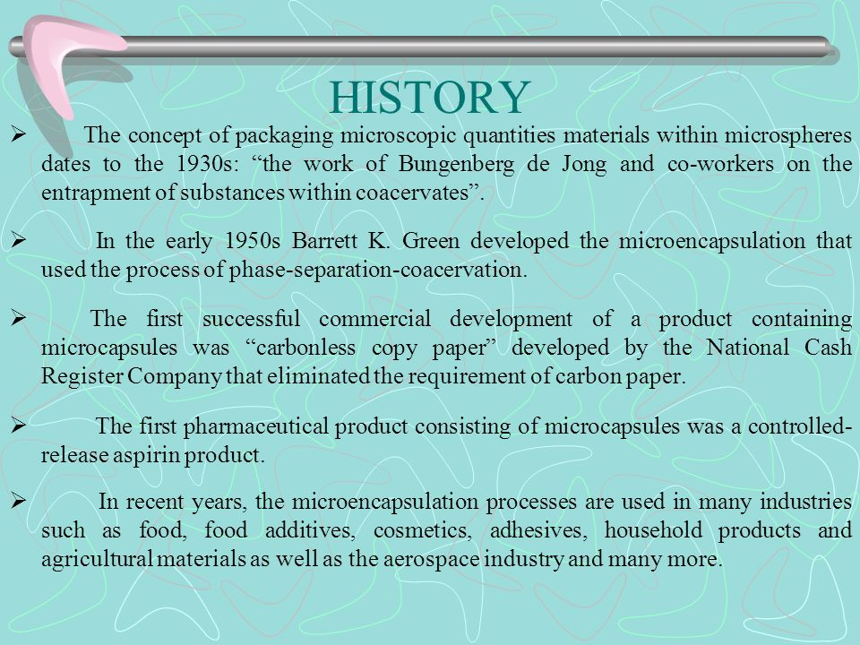 HISTORY The concept of packaging microscopic quantities materials within microspheres dates to the 1930s: the work of Bungenberg de Jong and co-worker