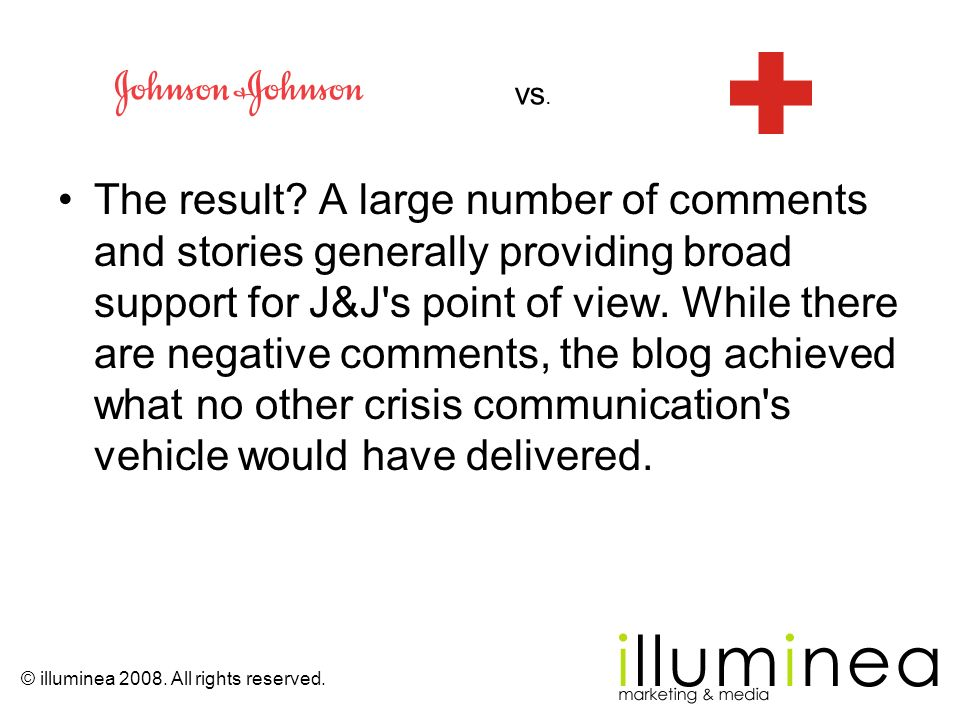 The result? A large number of comments and stories generally providing broad support for J&J's point of view. While there are negative comments, the b