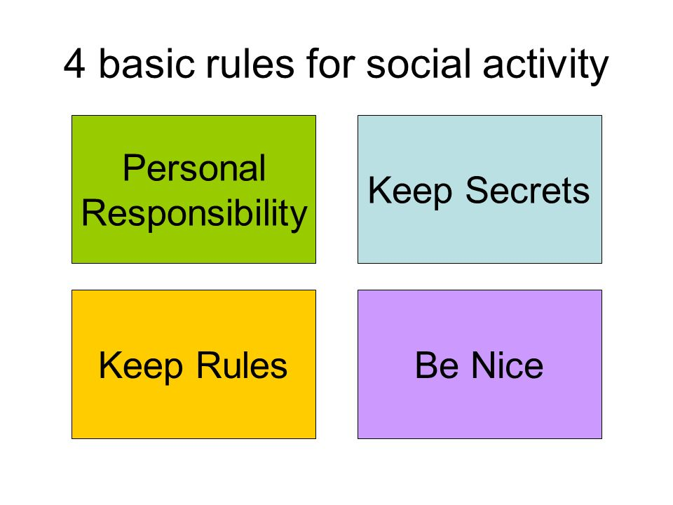 4 basic rules for social activity Personal Responsibility Keep Rules Keep Secrets Be Nice