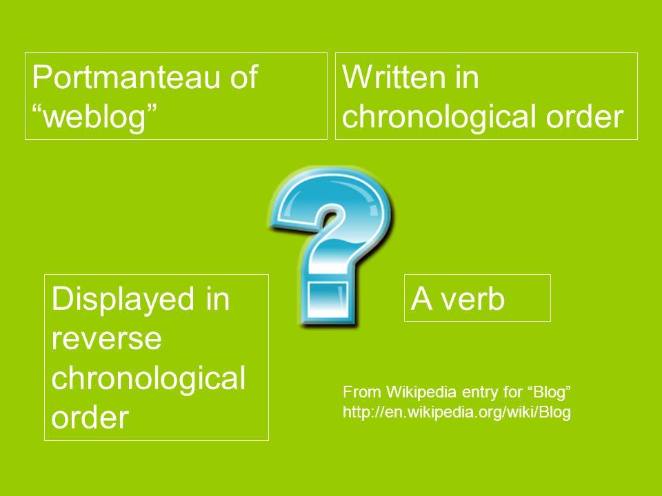 Portmanteau of weblog Written in chronological order Displayed in reverse chronological order A verb From Wikipedia entry for Blog http://en.wikipedia