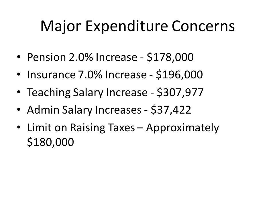 Major Expenditure Concerns Pension 2.0% Increase - $178,000 Insurance 7.0% Increase - $196,000 Teaching Salary Increase - $307,977 Admin Salary Increases - $37,422 Limit on Raising Taxes – Approximately $180,000