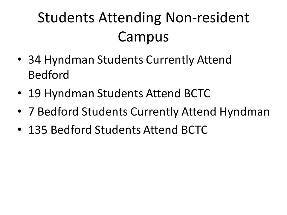Students Attending Non-resident Campus 34 Hyndman Students Currently Attend Bedford 19 Hyndman Students Attend BCTC 7 Bedford Students Currently Atten