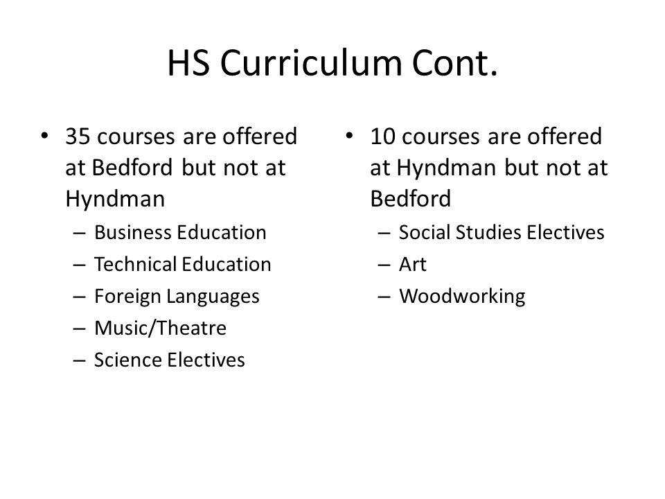HS Curriculum Cont.