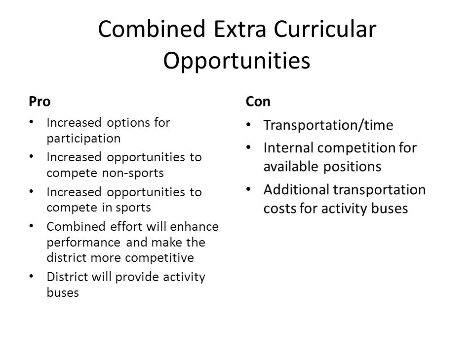 Combined Extra Curricular Opportunities Pro Increased options for participation Increased opportunities to compete non-sports Increased opportunities to compete in sports Combined effort will enhance performance and make the district more competitive District will provide activity buses Con Transportation/time Internal competition for available positions Additional transportation costs for activity buses