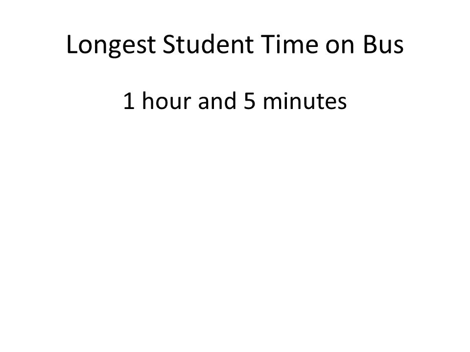 Longest Student Time on Bus 1 hour and 5 minutes