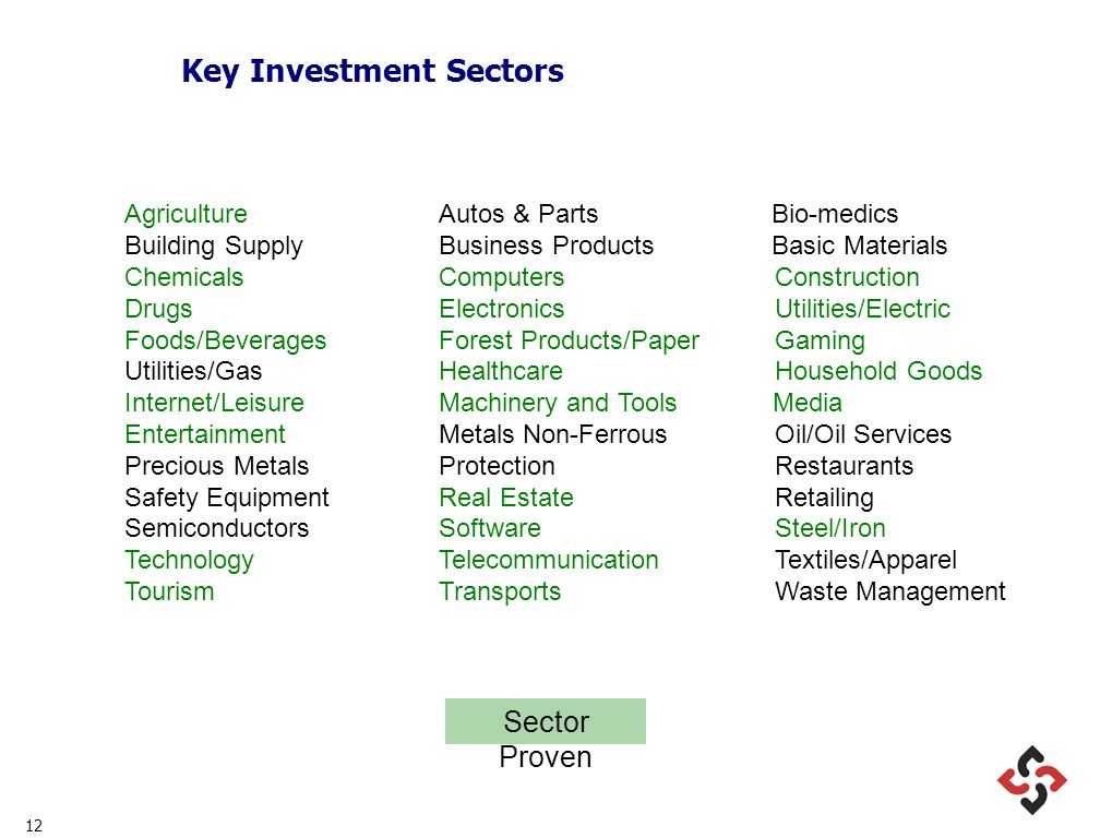 12 Key Investment Sectors AgricultureAutos & Parts Bio-medics Building SupplyBusiness Products Basic Materials Chemicals Computers Construction DrugsElectronics Utilities/Electric Foods/BeveragesForest Products/Paper Gaming Utilities/Gas Healthcare Household Goods Internet/Leisure Machinery and Tools Media Entertainment Metals Non-Ferrous Oil/Oil Services Precious Metals Protection Restaurants Safety Equipment Real Estate Retailing Semiconductors Software Steel/Iron TechnologyTelecommunication Textiles/Apparel TourismTransports Waste Management Sector Proven