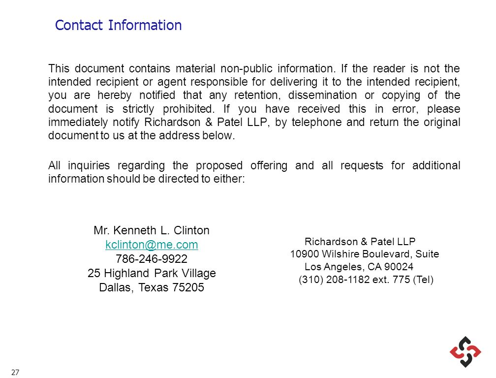 27 Contact Information This document contains material non-public information. If the reader is not the intended recipient or agent responsible for de